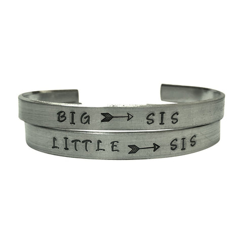 Big Sis/Little Sis - Hand Stamped Aluminum Cuff Bracelets Set Arrow, Sister Gift, Friendship, BFF,Sorority Sisters