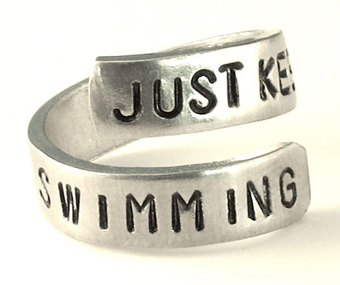 Just Keep Swimming - Swimming Ring- Dory- Finding Nemo- Aluminum Inspiration Ring
