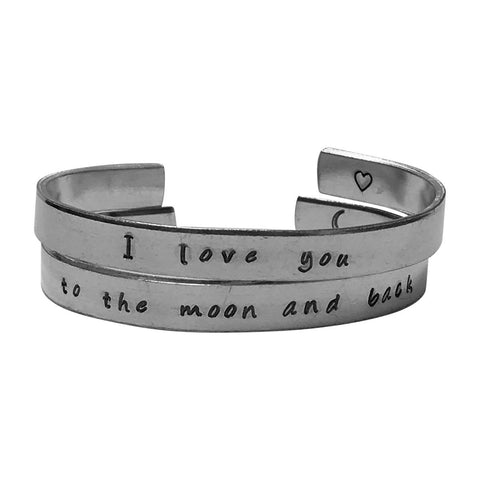 I Love You to The Moon and Back Bracelet Set - 1/4 inch Hand Stamped Aluminum Bracelet Set -