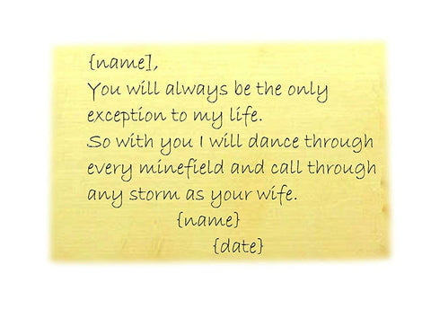 Wallet Wedding Vows in Brass - Personalized Custom Handstamped Credit Card Sized Metal Plate