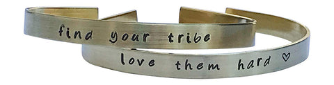 Find Your Tribe Love Them Hard-Stamped Bracelet Set -Brass-Mother's Day -Sorority -Best Friend-Team Gift