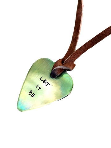 Guitar Pick Necklace - Let It Be - Antique Distressed - Hand Stamped Necklace Leather - BFF Gift