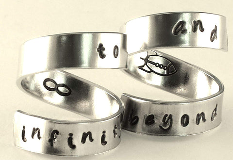 To infinity and beyond - rocket ship, infinity - Adjustable Twist Wrap Aluminum Ring SET - Handed Stamped