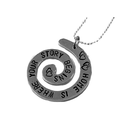 Home is Where Your Story Begins - Hand Stamped Spiral Pendant Necklace