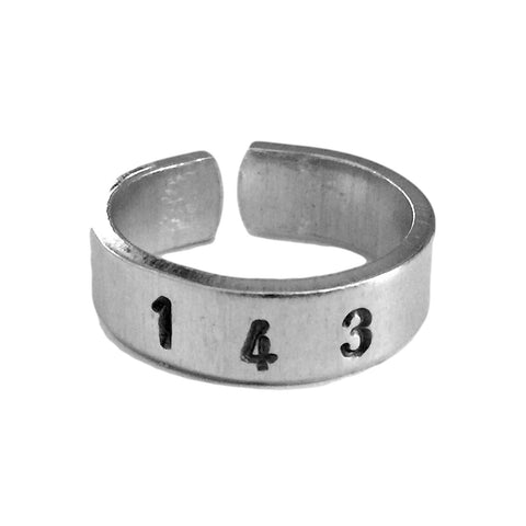 143 - I Love You in Numbers - I Love You Ring - Aluminum
