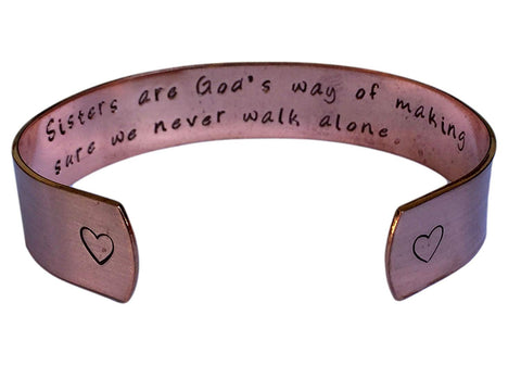 Hand Trades Sisters are God's Way of Making Sure we Never Walk Alone - Gift Jewelry Inspirational Cuff Bracelet 1/2""