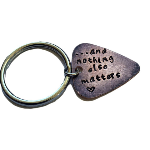 Hand Trades and Nothing Else Matters - Heart - Distressed Copper - Key Chain Personalized Keychain, Couples Gift, Guitar Picks Key Chain Personalized