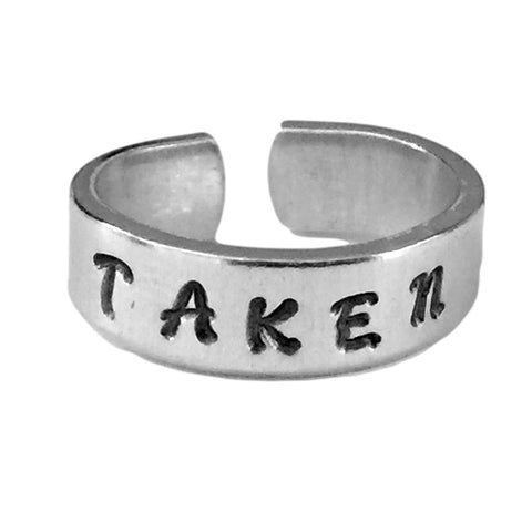 Taken Handstamped Relationship Ring Aluminum - Girlfriend Ring