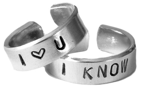 I Love You - I Know - A Pair of Han & Leia Heart Hand Stamped Rings
