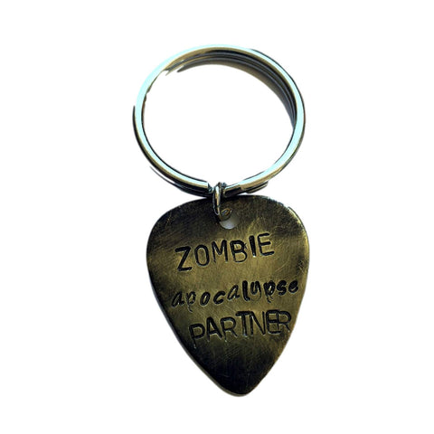 Hand Trades Zombie Apocalypse Partner - Distressed - Key Chain Personalized Keychain, Couples Gift, Guitar Picks Key Chain Personalized