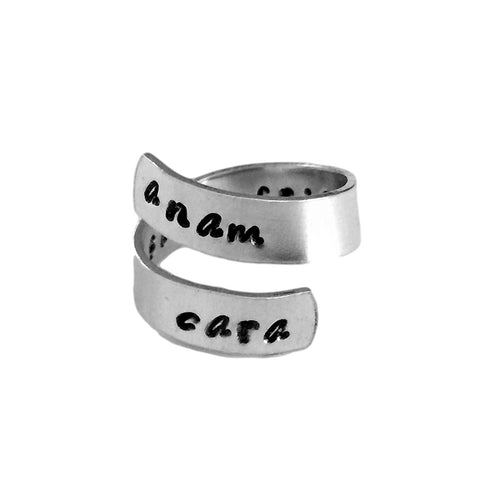 Anam Cara Wrap Custom Ring | Soul Friends Ring | Celtic Theme Friendship Aluminum Ring