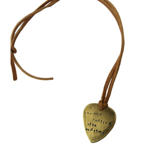 and Nothing Else Matters Antique Distressed Brass Guitar Pick Hand Stamped Necklace Natural Beige Leather Cord Adjustable 21""
