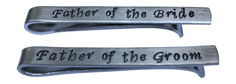 Hand Trades Father of The Bride Father of The Groom Tie Clips Set -Gifts for dad Wedding-Groomsmen Gift