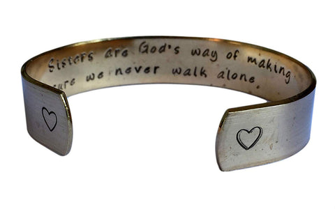 Hand Trades Sisters are God's Way of Making Sure we Never Walk Alone - Brass- Gift Jewelry Inspirational Cuff Bracelet 1/2""