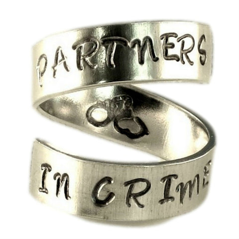 Partners in Crime Jewelry - Geek Jewelry - Adjustable Twist Wrap Aluminum Ring - Handed Stamped