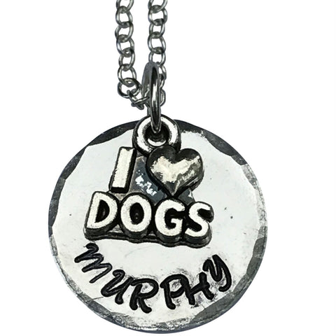 I love dogs Necklace, Personalized Name Necklace,Custom Necklace, Dog Paw Necklace, Personalized Gift Dog