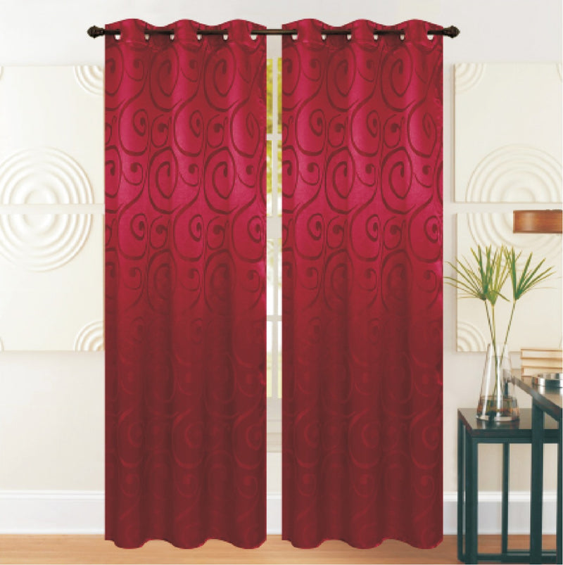 REST COLLECTION 2 PAIR CURTAIN-BURGUNDY - Cottonhome.ae