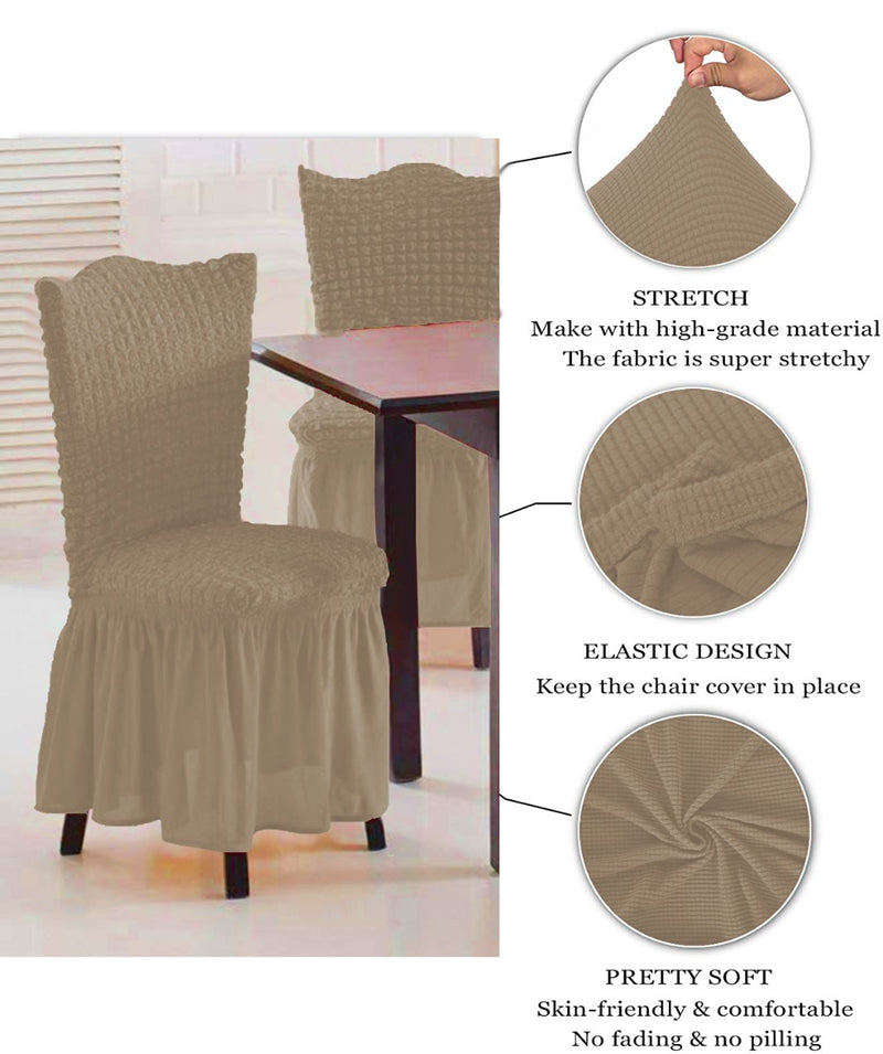 CASUAL 6PCS CHAIR COVER SETS-BEIGE - Cottonhome.ae