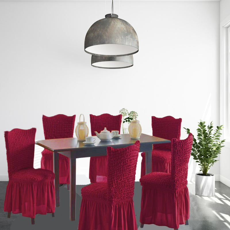 CASUAL 6PCS CHAIR COVER SETS-BURGUNDY - Cottonhome.ae