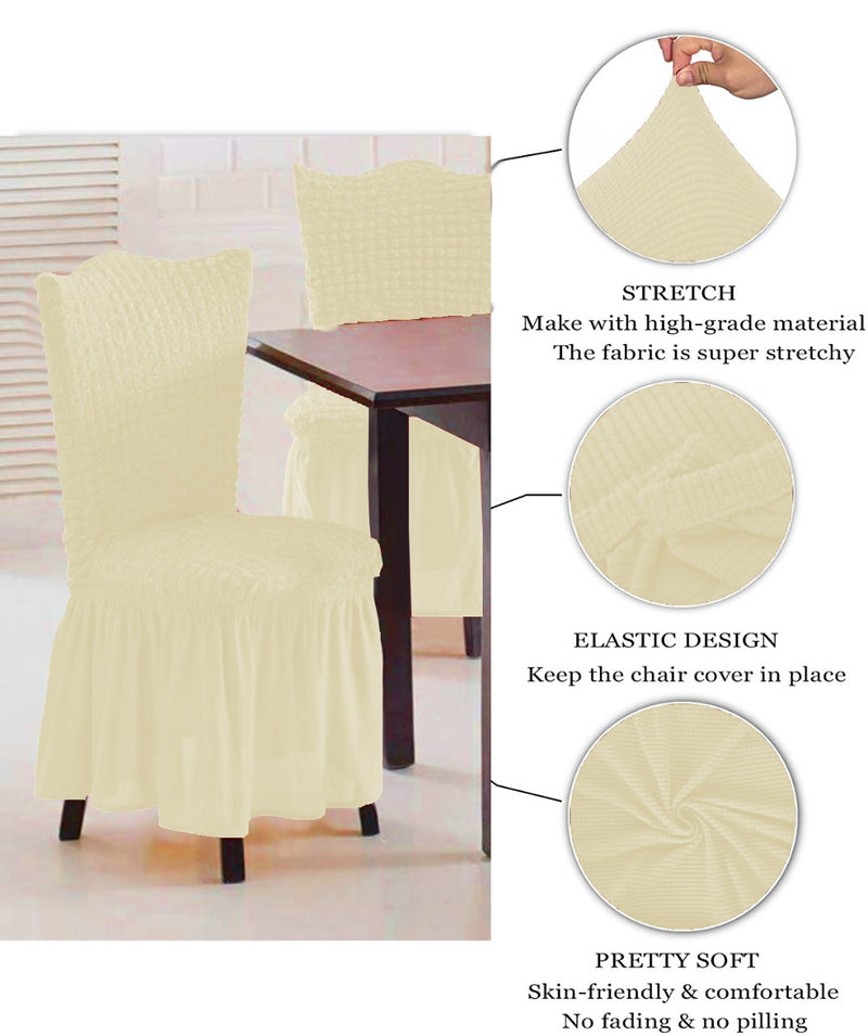 CASUAL 6PCS CHAIR COVER SETS-CREAM - Cottonhome.ae