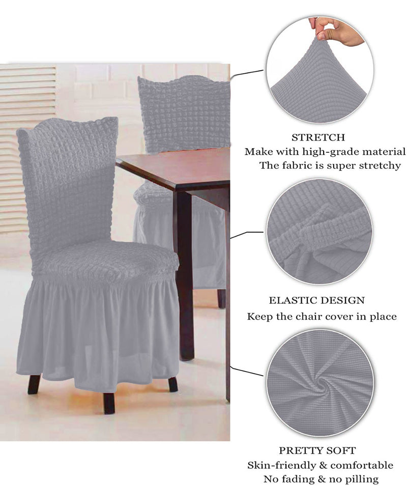 CASUAL 6PCS CHAIR COVER SETS-GREY - Cottonhome.ae