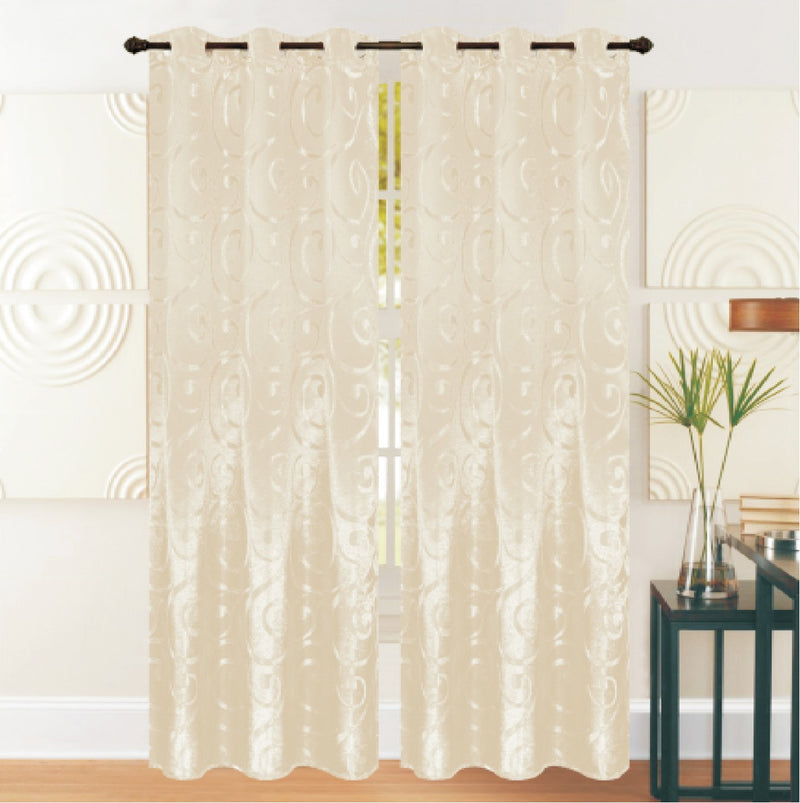REST COLLECTION 2 PAIR CURTAIN-CREAM - Cottonhome.ae