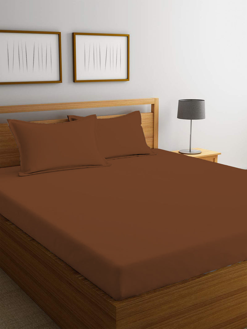 REST 3PCS SET KING FITTED SHEET SUPER SOFT-BROWN - Cottonhome.ae