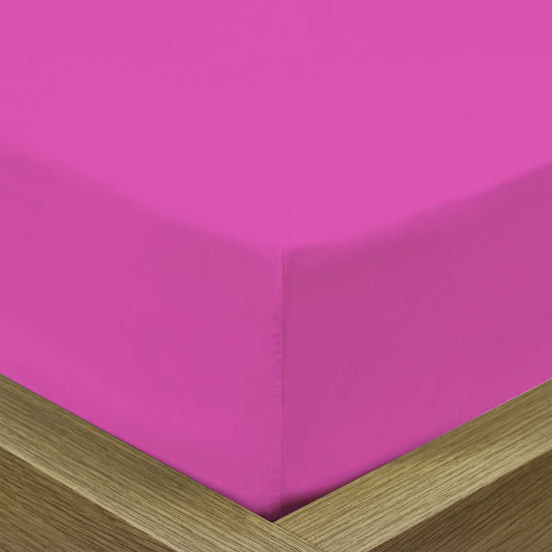 COTTON RICH SATEEN SINGLE FLAT SHEET FUSCHIA-220 X 240 CM - Cotton Home
