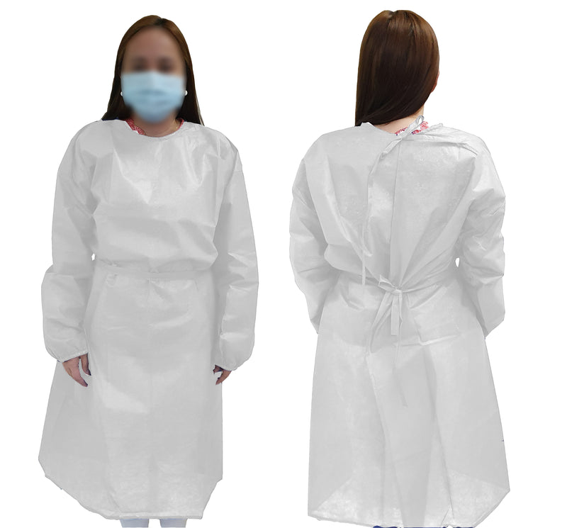 G11 DISPOSABLE ISOLATION GOWN WHITE 50GSM - Cotton Home