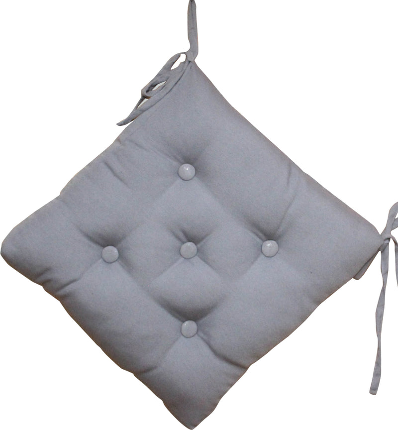 Quilted Chair Pad-Grey 40x40cm - Cottonhome.ae