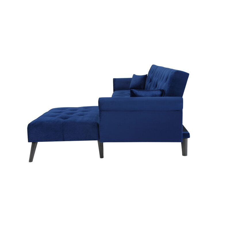 Kerry Wide Velvet Reversible Sleeper Sofa & Chaise - Cotton Home