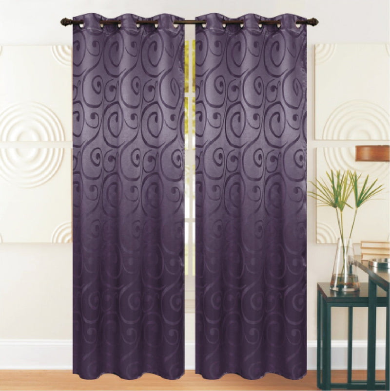 REST COLLECTION 2 PAIR CURTAIN-PURPLE - Cottonhome.ae
