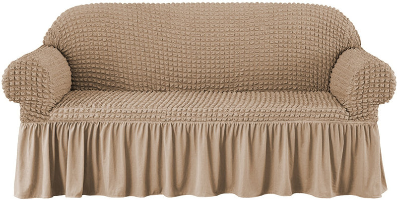 CASUAL 4PCS SOFA COVER SETS (3 SEATER 1PC, 2 SEATER 1PC, 2 SEATER 2PCS)-BEIGE - Cottonhome.ae