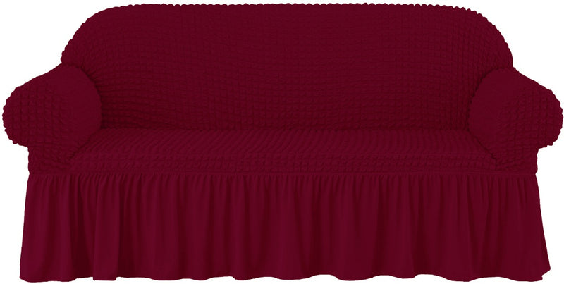 CASUAL 4PCS SOFA COVER SETS(3 SEATER 1PC, 2 SEATER 1PC, 2 SEATER 2PCS)-BURGUNDY - Cottonhome.ae