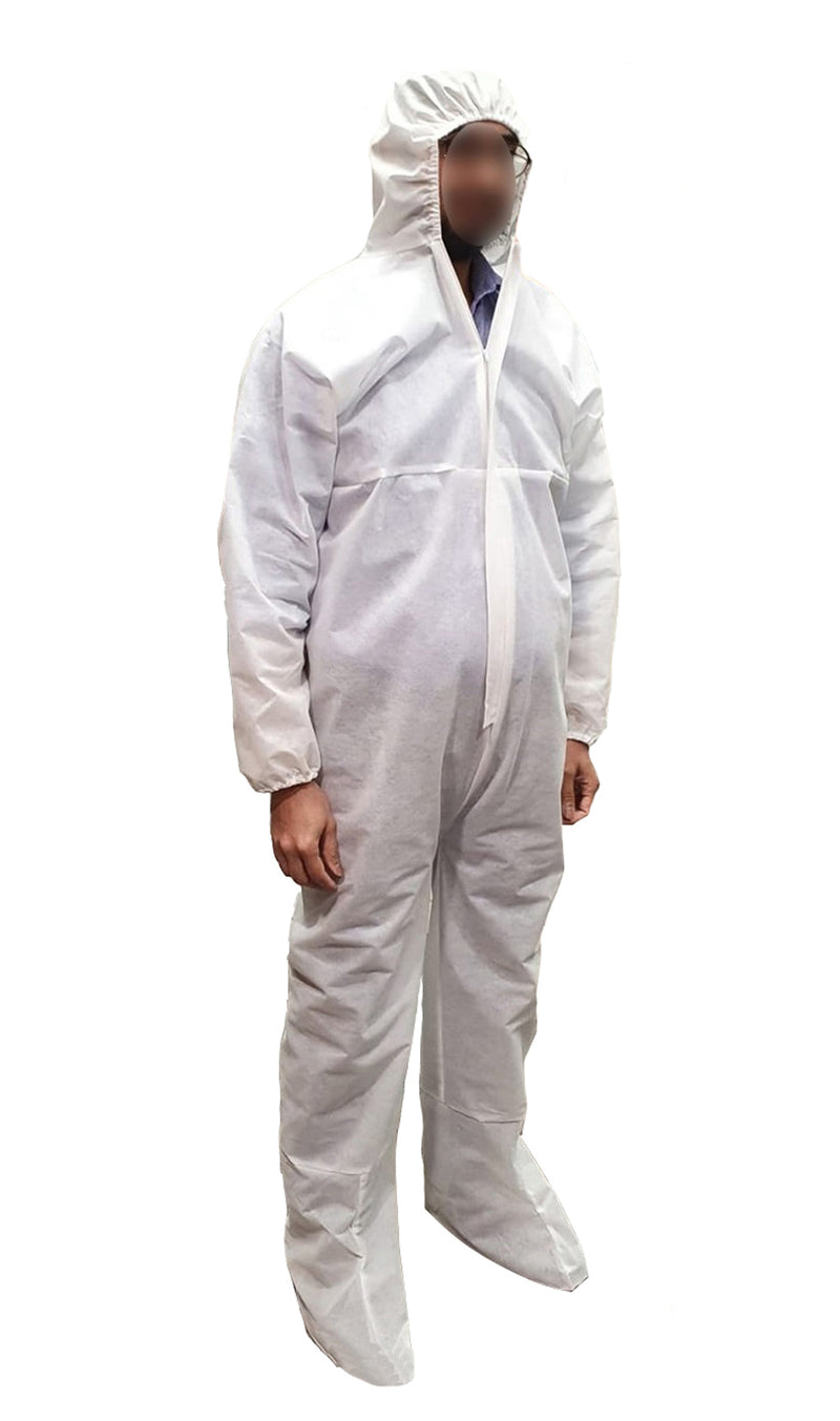 SHF8 DISPOSABLE COVERALL WITH HOOD AND FOOT COVER-70GSM - Cottonhome.ae