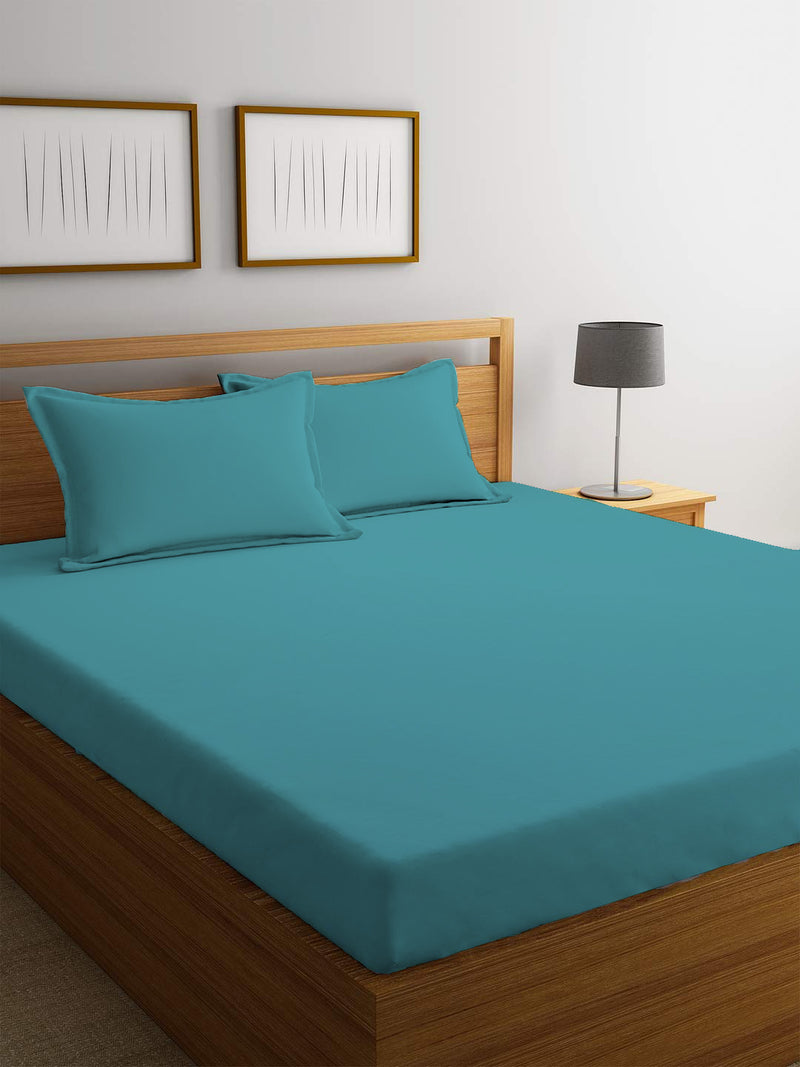 REST 3PCS SET SINGLE FITTED SHEET SUPER SOFT-TEAL - Cottonhome.ae