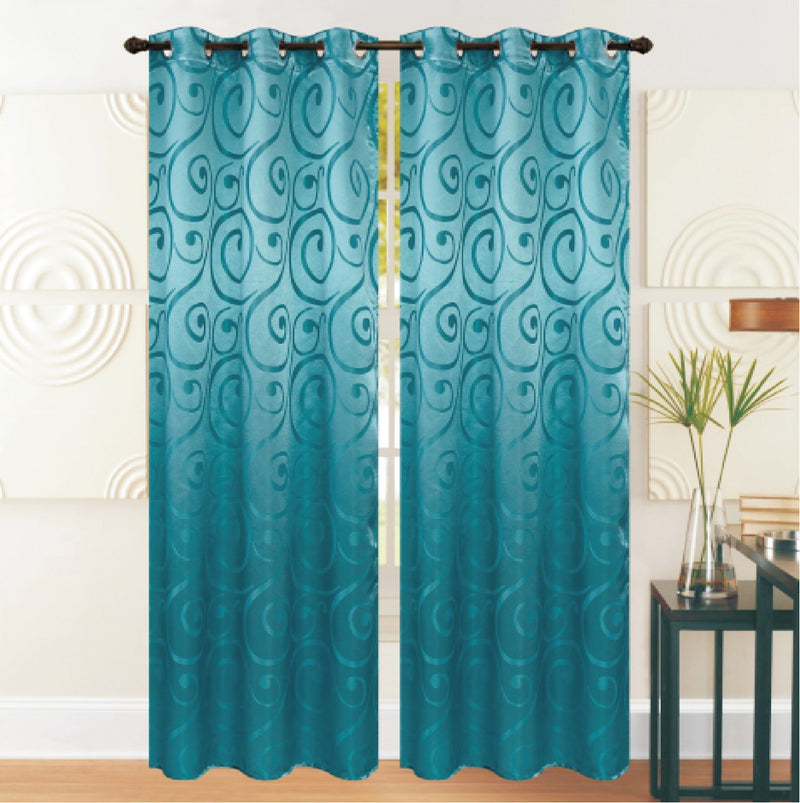 REST COLLECTION 2 PAIR CURTAIN-TURQUOISE - Cottonhome.ae