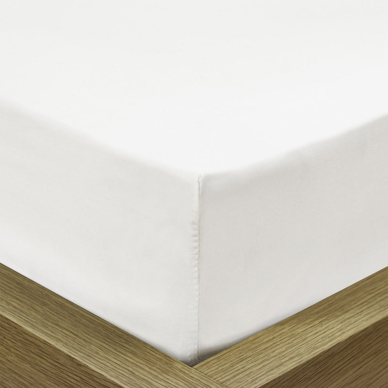 Rest Super soft Fitted sheet 200 X 200 + 30 CM-WHITE - Cottonhome.ae