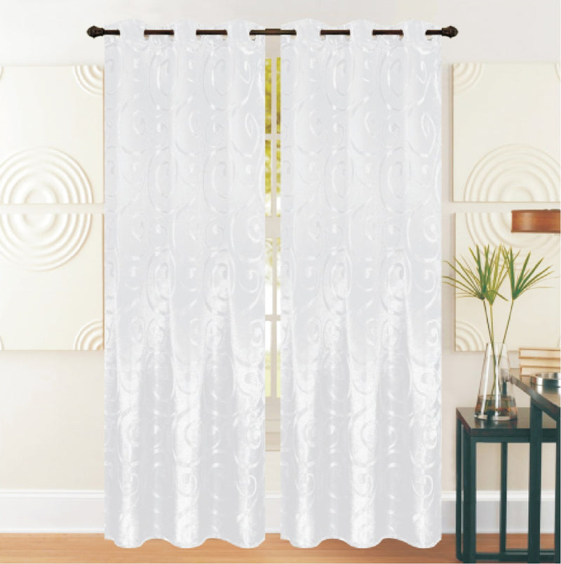 REST COLLECTION 2 PAIR CURTAIN-WHITE - Cottonhome.ae