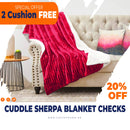 Rest Sherpa Blanket Checks 220x240cm-Wine - Cottonhome.ae