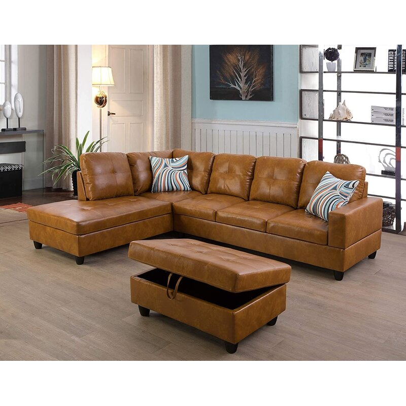 Faux Leather Corner Sectional with Ottoman - Cotton Home