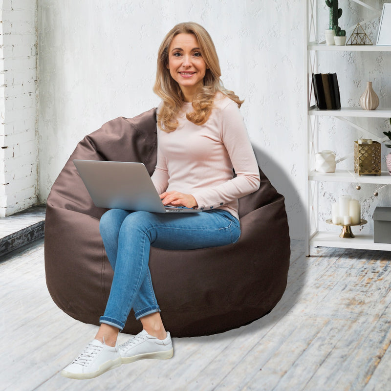 Leather Bean Bag Big Size-Brown - Cotton Home