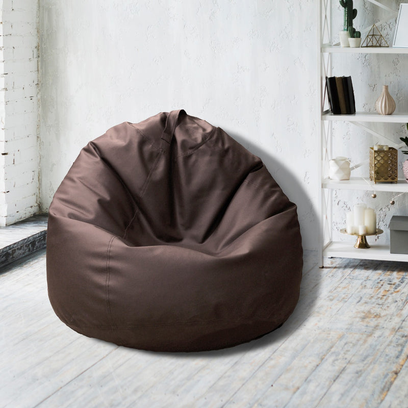 Leather Bean Bag Big Size-Brown - Cottonhome.ae