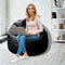 Leather Bean Bag Big Size-Black - Cottonhome.ae