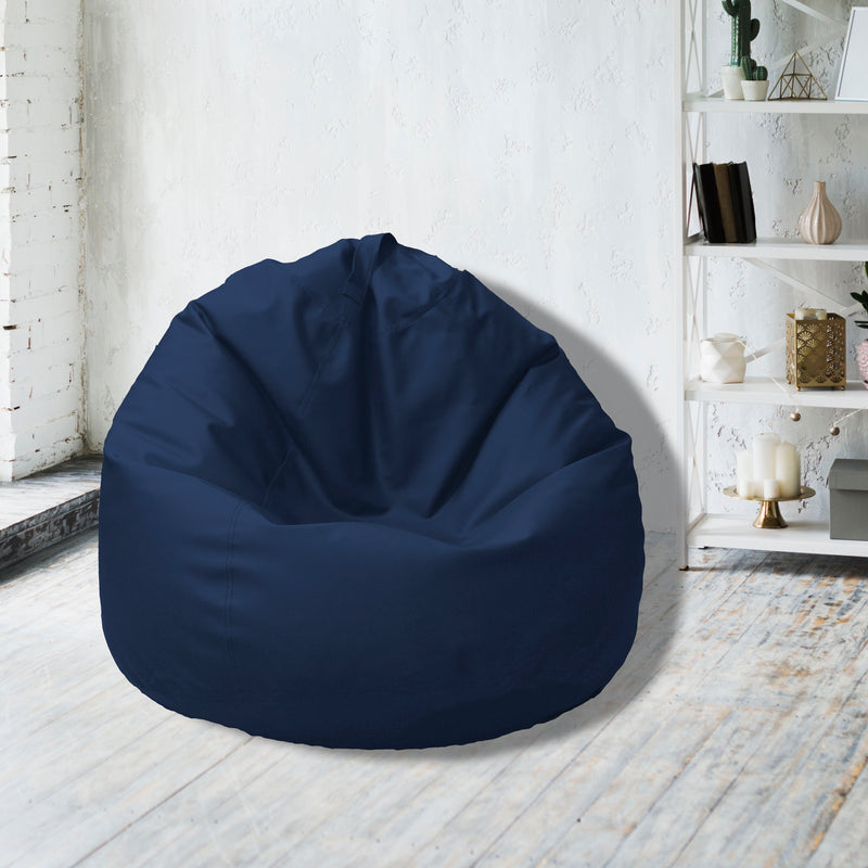 Leather Bean Bag Big Size-Navy Blue - Cotton Home