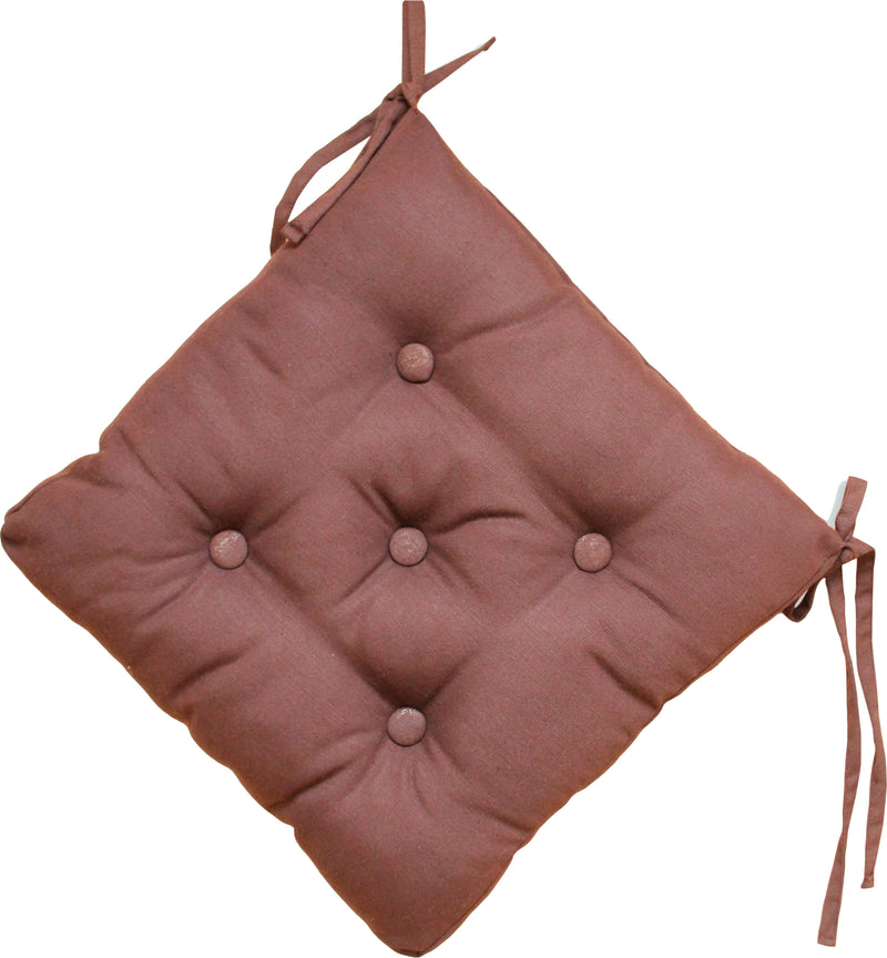 Quilted Chair Pad-Brown 40x40cm - Cotton Home