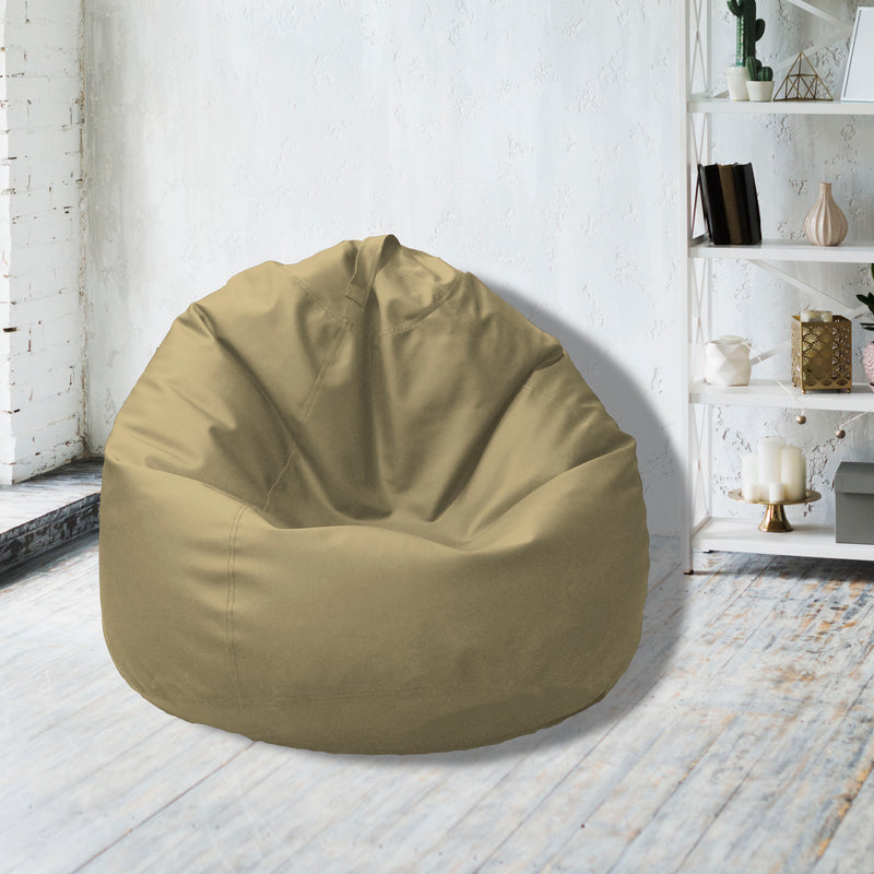 Leather Bean Bag Big Size-Gold - Cotton Home