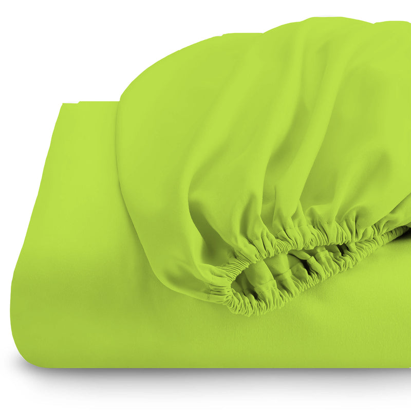 Rest Super soft Fitted sheet 160 X 200 + 30 CM-Lime - Cottonhome.ae