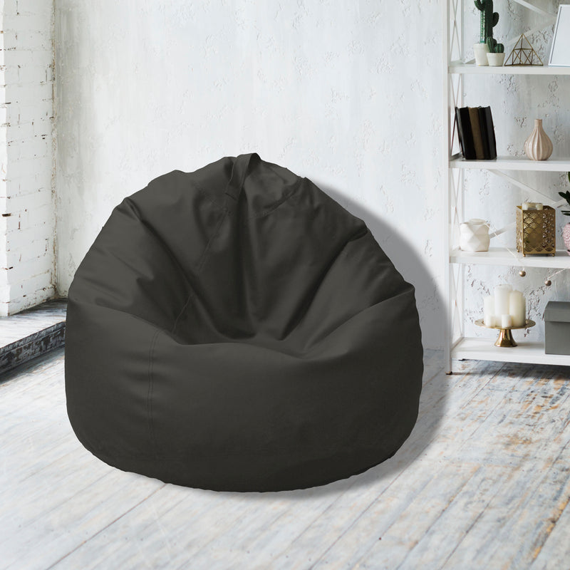 Leather Bean Bag Big Size-Dark Grey - Cottonhome.ae