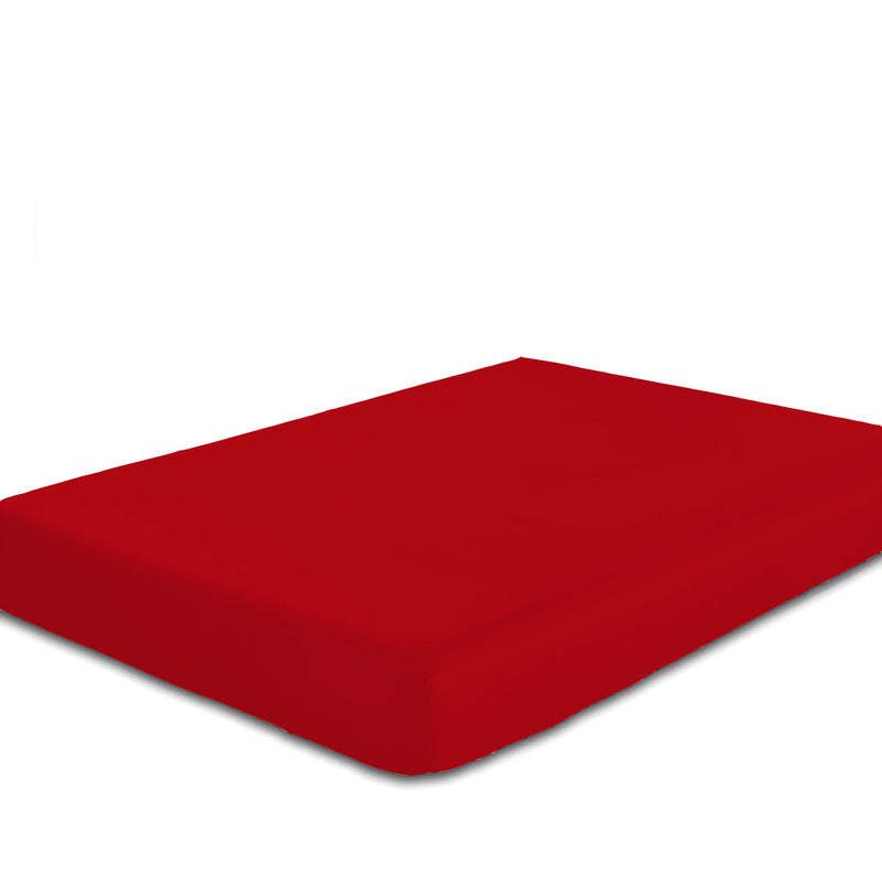 COTTON RICH SATEEN SINGLE FLAT SHEET RED 200 X 220 CM - Cottonhome.ae